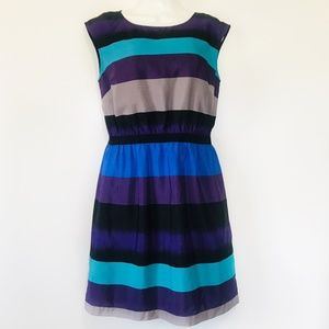 Loft Dress Striped Cap Sleeve Blue Purple Empire